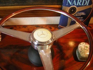 Nardi Wood Steering Wheel engraved spokes for Mercedes R107 - W107 560 SL