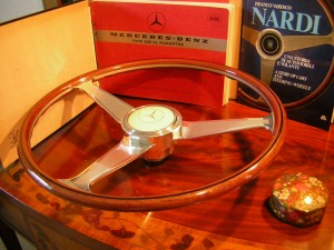 Nardi Wood Steering Wheel Engraved spokes for Mercedes W198 300 SL Roadster Mercedes 190 SL